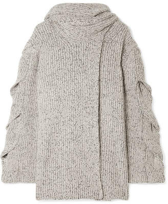 See by Chloe Mélange Ribbed-knit Cardigan - White