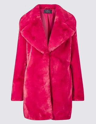 M&S Collection Single Breasted Faux Fur Jacket