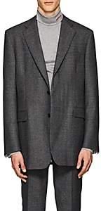 Calvin Klein Men's Plaid Wool Two-Button Sportcoat - Dark Gray