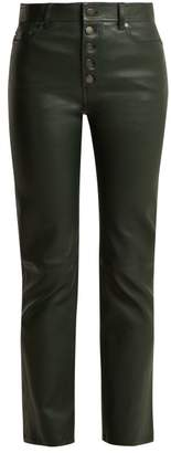 Joseph Den Cropped Leather Trousers - Womens - Green