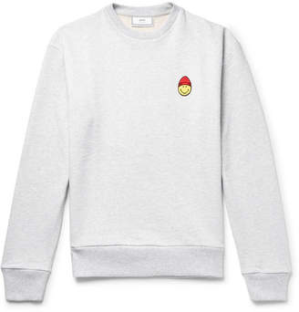 Ami The Smiley Company Appliquéd Loopback Cotton-Jersey Sweatshirt