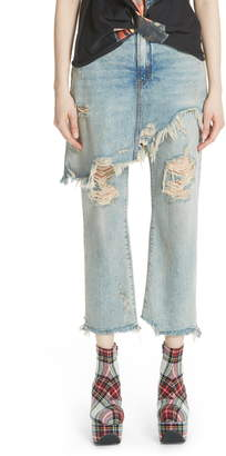 R 13 Double Classic Ripped Crop Jeans