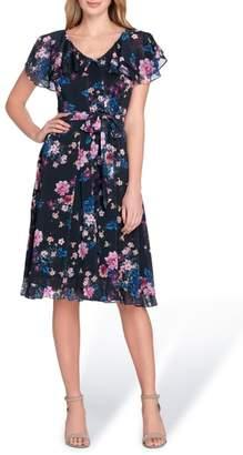 Tahari Flutter Sleeve Floral Print Fit & Flare Dress