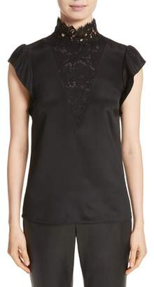 St. John Lace Trim Stretch Silk Crepe de Chine Top