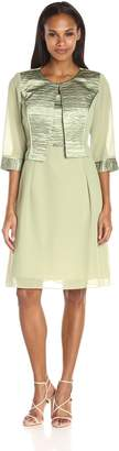 Le Bos Women's Tier Hem Glitter Trim Blouson Dress