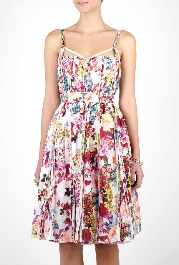 D&G Pleated Mimosa Print Boned Dress