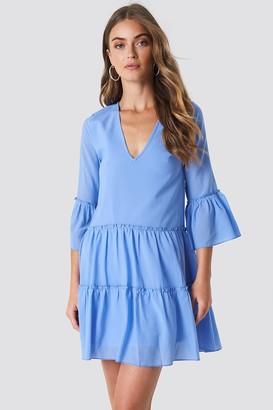 Na Kd Boho V-Neck Ruffle Mini Dress Dark Blue
