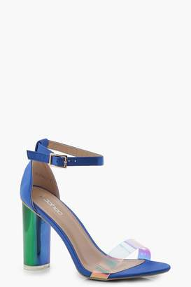 boohoo Zoe Iridescent Strap Block Heels