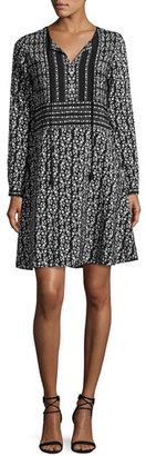 Shoshanna Estee Floral Silk A-Line Dress, Black $395 thestylecure.com