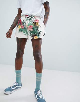 Jaded London Floral Print Shorts In White With Side Stripe