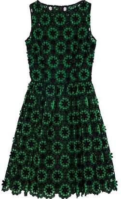 Dolce & Gabbana Pleated Floral-Appliquéd Cotton-Blend Guipure Lace Dress