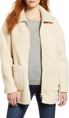 Halogen Zip Front Teddy Coat