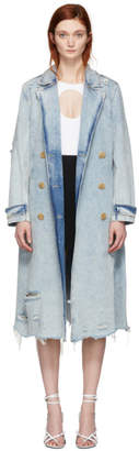 Alexander Wang Blue Denim Bleached Trench Coat