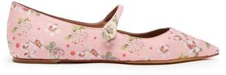Tabitha Simmons Hermione Floral Jacquard Flats - Womens - Pink Multi