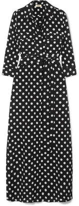 L'Agence Cameron Polka-dot Silk Maxi Dress - Black