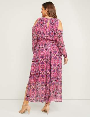 Lane Bryant Chiffon Cold-Shoulder Fit & Flare Maxi Dress