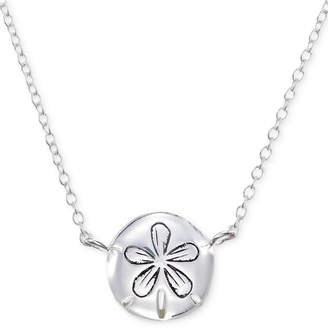 """Unwritten Sand Dollar 18"""" Pendant Necklace in Sterling Silver"""