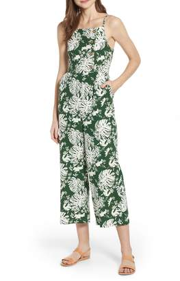 BP Leaf Print Side Button Linen Blend Crop Jumpsuit