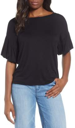 Bobeau Knit Bubble Sleeve Tee (Regular & Petite)