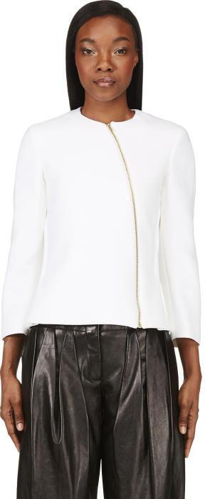 Calvin Klein Collection Ivory Neoprene Tafari Zip Jacket