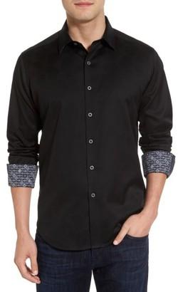 Men's Big & Tall Robert Stack Haystack Regular Fit Jacquard Sport Shirt $188 thestylecure.com