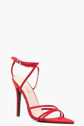 boohoo Extreme Pointed Toe Wrap Strap Heels