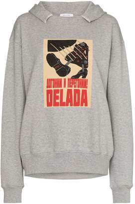 Delada poster-print logo hoodie