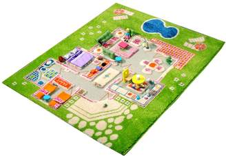 """Camilla And Marc Ivi IVI NB/121md015ye80103-it Rug Hypoallergenic Game in 3D for Children with""""A Game Girls 'Home' Design 80 x 100 cm Green"""