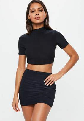 Missguided Navy Short Sleeve Turtle Neck Crop Top
