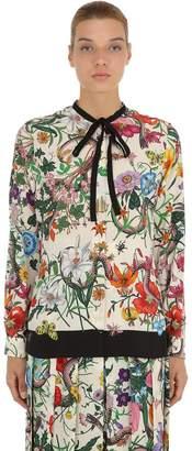 Gucci Floral Printed Silk Crepe De Chine Shirt