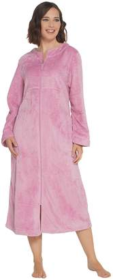Stan Herman Textured Silky Plush Full Zip Robe