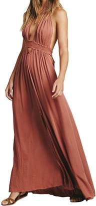CA Mode Women Plunging Neckline Summer Beach Evening Prom Gown Party Maxi Dress