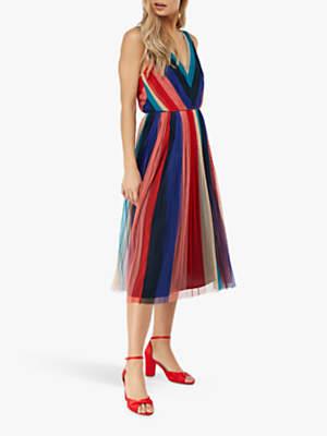 Monsoon Simone Pleated Midi Dress, Multi