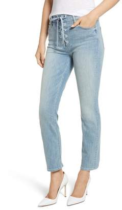 Mother The Lace-Up Dazzler High Waist Ankle Straight Leg Jeans (Tinge)