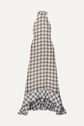 SOLACE London Bibele Gingham Halterneck Voile Maxi Dress - Gray