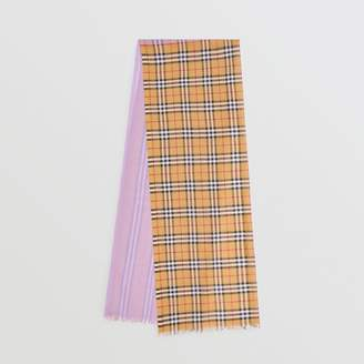 Burberry Vintage Check Colour Block Wool Silk Scarf, Purple