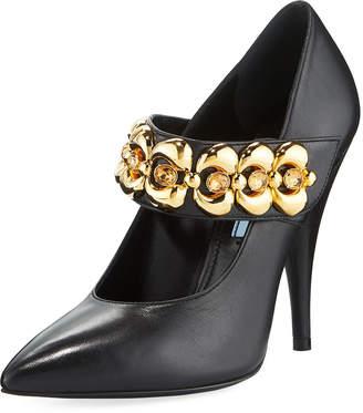 Prada Leather Jeweled-Strap Mary Jane Pumps