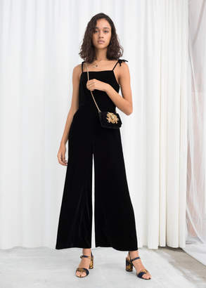 And other stories Square Neck Velvet Jumpsuit