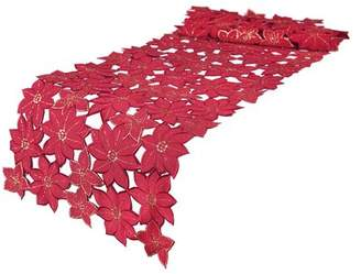 The Holiday Aisle Festive Poinsettia Embroidered Cutwork Holiday Table Runner