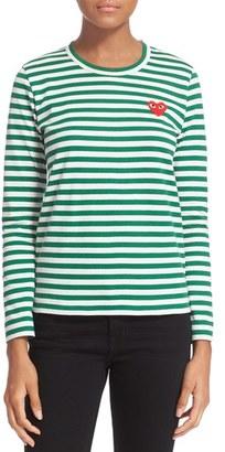 Women's Comme Des Garcons Play Stripe Cotton Tee $155 thestylecure.com