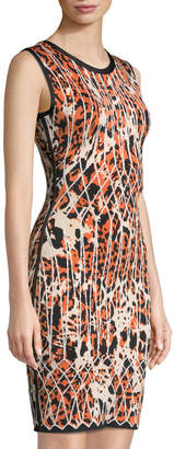 Herve Leger Sleeveless Animal-Print Jacquard Cocktail Dress