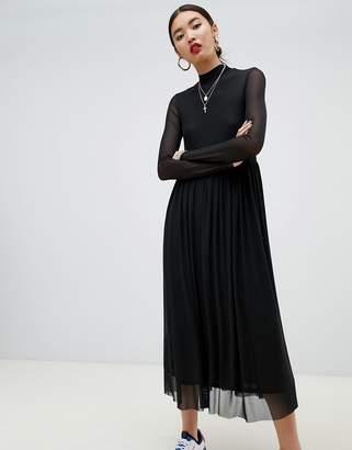 NA-KD Na Kd mesh long sleeve dress in black