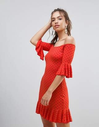 Daisy Street Polka Dot Off The Shoulder Dress With Frill Trim
