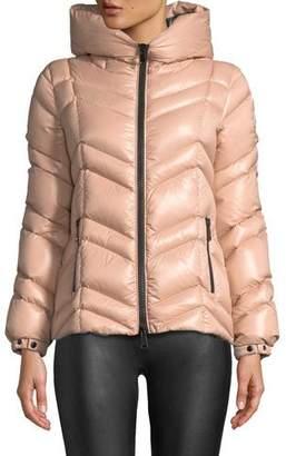 Moncler Fuligule Chevron Puffer Coat w/ Hood