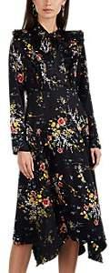 By Ti Mo byTiMo Women's Floral Satin Tie-Collar Midi-Dress