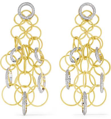 BuccellatiBuccellati - Hawaii 18-karat Yellow And White Gold Diamond Earrings - one size