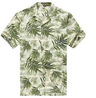 Hawaii Hangover Men's Hawaiian Shirt Aloha Shirt L Breadfruit Leaves in White Green