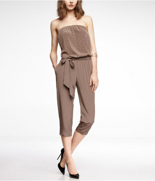 Express Studded Cropped Strapless Jumpsuit