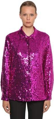 MSGM P.m. Sequined Maxi Shirt