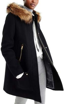 J.Crew Chateau Stadium Cloth Parka with Faux Fur Trim